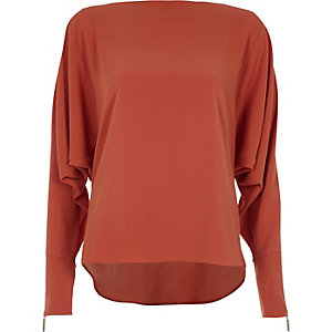 Copper brown long sleeve batwing top