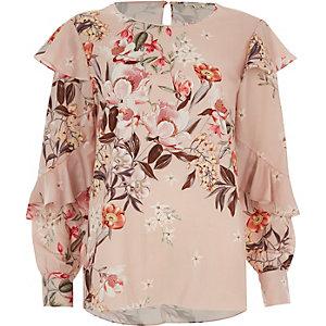 Roze top met lange mouwen, bloemenprint en ruches