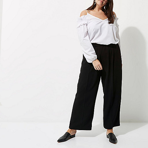 Plus black wide leg trousers