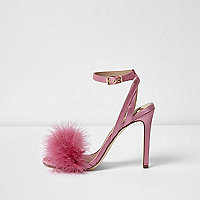 Pink satin fluffy barely there sandals