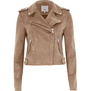 Dark beige biker jacket