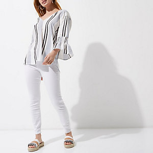 Petite white stripe cross back top
