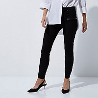 Petite black zip detail skinny trousers