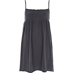 Dark grey shirred jersey cami dress