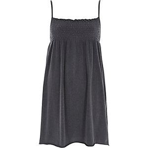 Donkergrijze gesmokte jersey cami-jurk