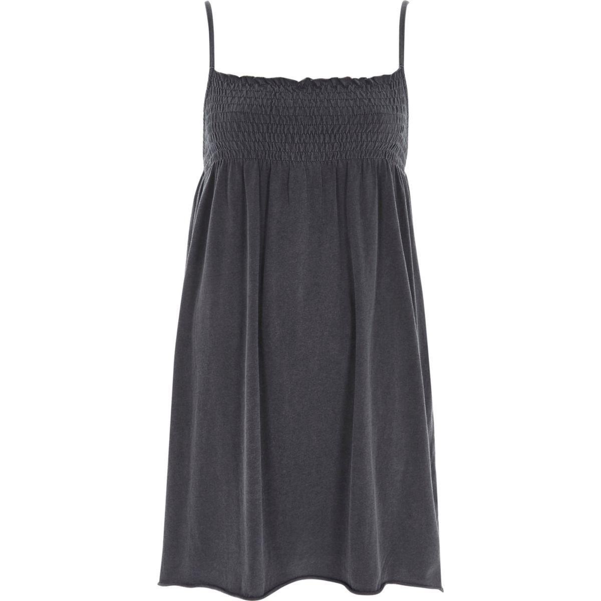 Dark grey shirred jersey cami dress