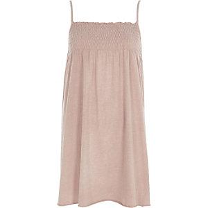 Lichtroze gesmokte jersey cami-jurk