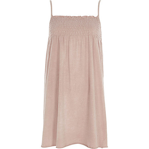 Light pink shirred jersey cami dress