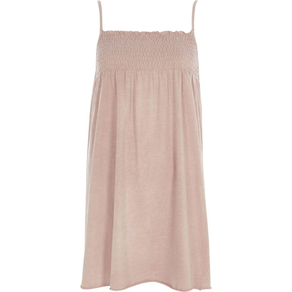 Light pink shirred jersey cami dress