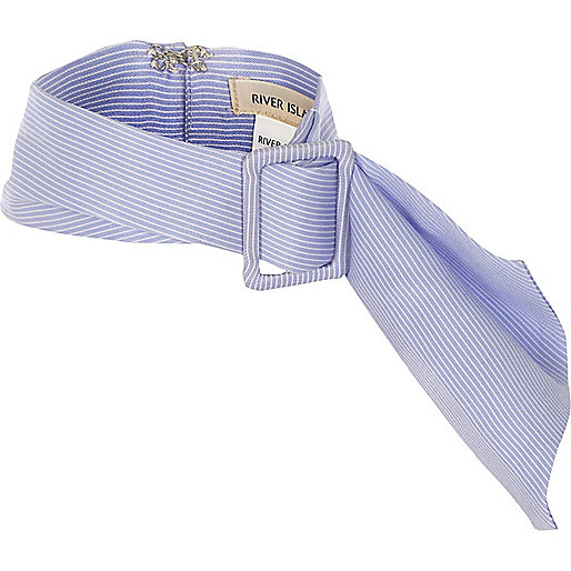 Blue stripe buckle scarf