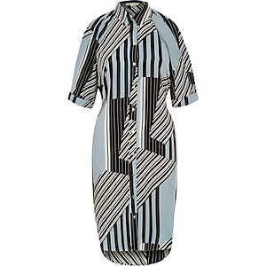 Blue mixed stripe cold shoulder shirt dress