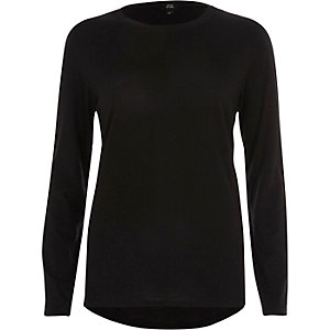 Schwarzes, langärmliges T-Shirt mit Rundhalsausschnitt