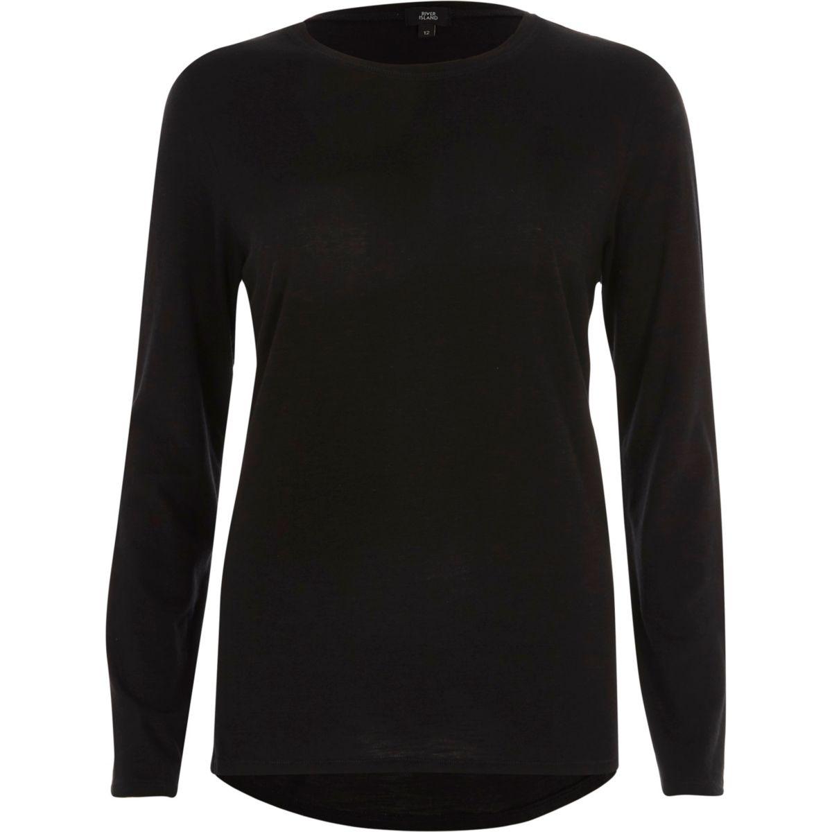 Zwart T-shirt met ronde hals en lange mouwen
