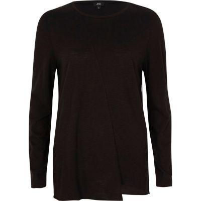8b87dbfb3cac3 T-shirt noir asymétrique à manches longues - T-shirts   Débardeurs - Promo  - Femme