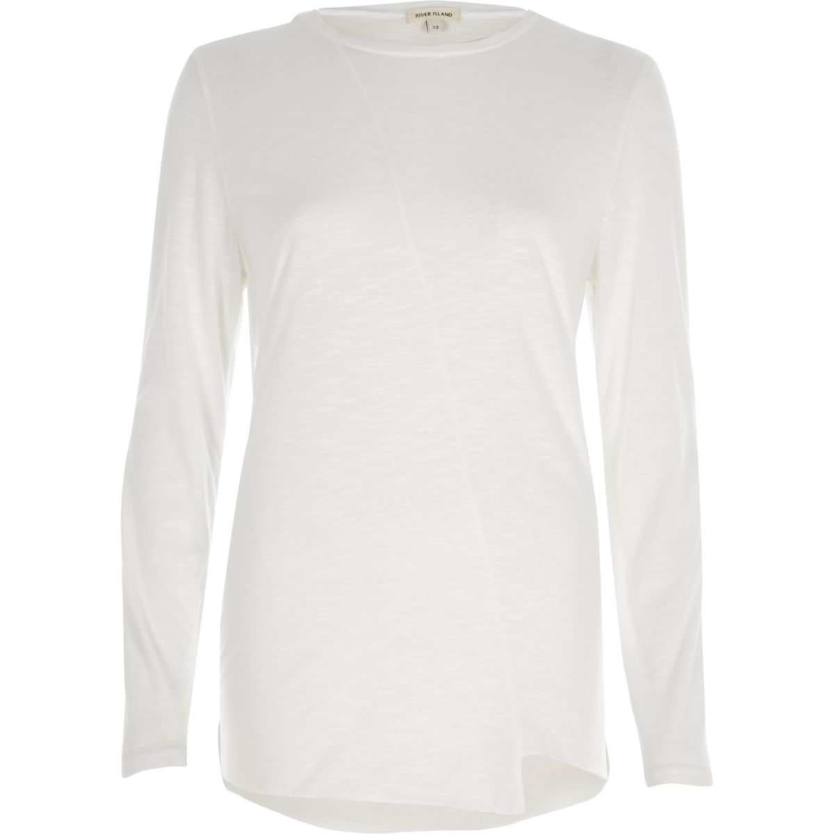 White stepped hem long sleeve T-shirt