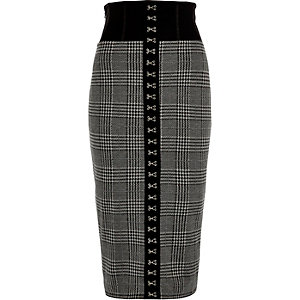 Black check corset pencil skirt