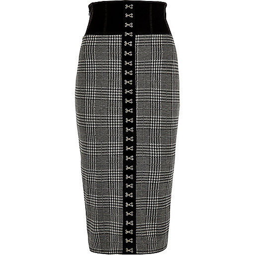 Black check corset pencil skirt