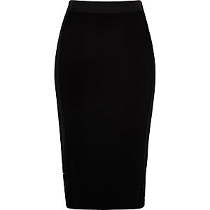 Black crochet insert pencil skirt