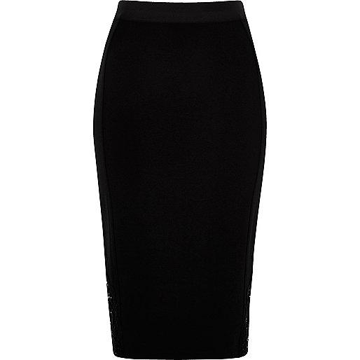 Black crochet insert pencil skirt
