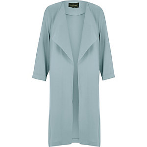 Blue fallaway duster coat