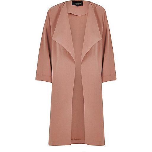 Light pink fallaway duster jacket