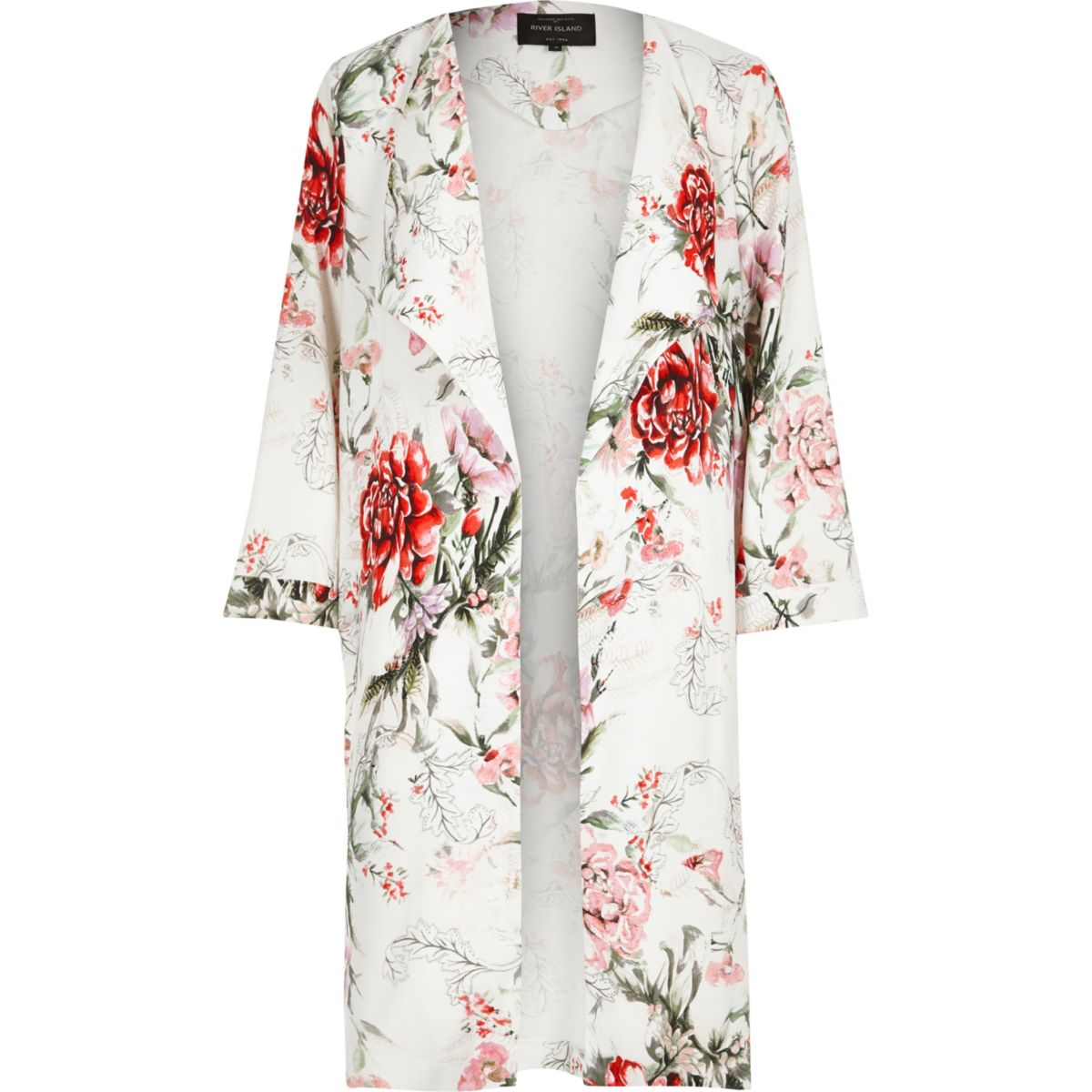 White floral print duster coat