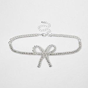 Silver bow diamante encrusted bead choker