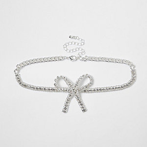 Silver bow diamante encrusted bead choker