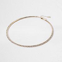 Gold tone rhinestone pave necklace