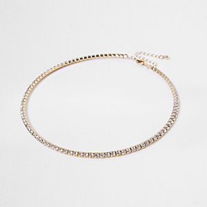 Gold tone rhinestone pave necklace