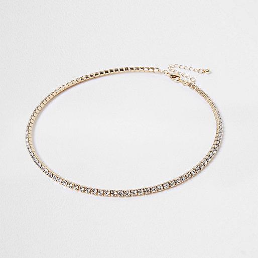 Gold tone diamante pave necklace