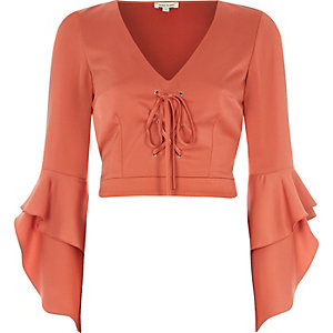 Copper lace-up frill sleeve crop top