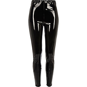 Black vinyl high waisted skinny pants