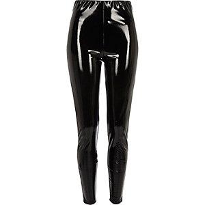 Zwarte vinyl skinny broek met hoge taille