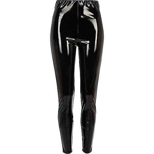 Black vinyl high waisted skinny pants