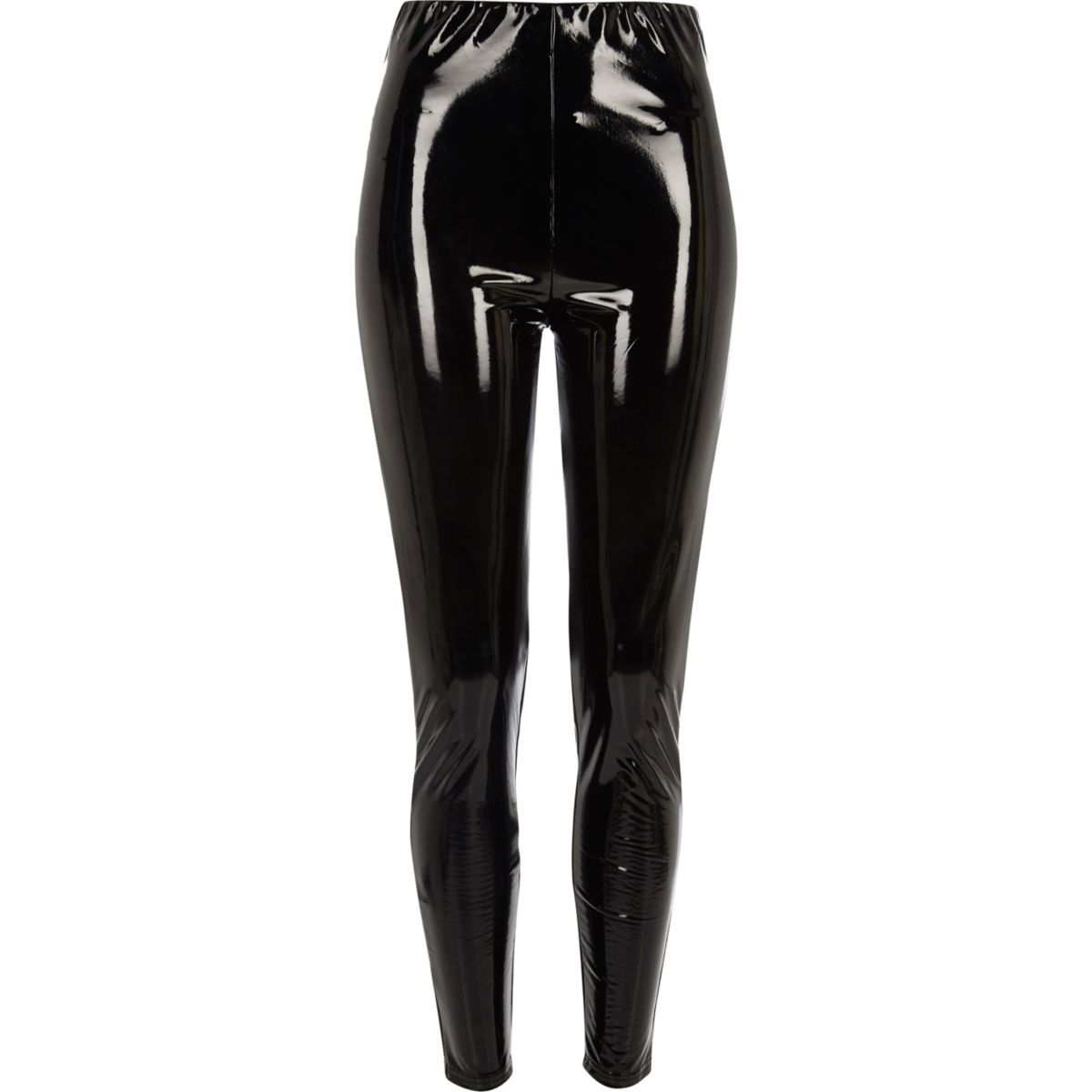 Black vinyl high waisted skinny trousers