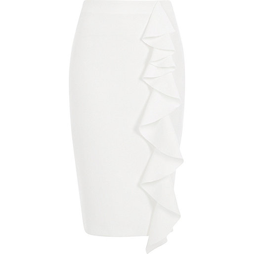White frill front pencil skirt