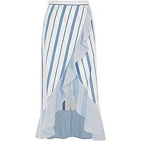 Blue stripe print frill hem wrap maxi skirt