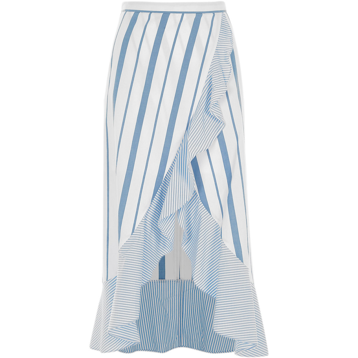 Blue stripe print frill hem wrap maxi skirt