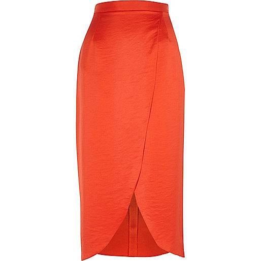 Red wrap midi skirt