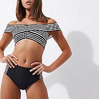 Bas de bikini noir taille haute rayé sur les côtés