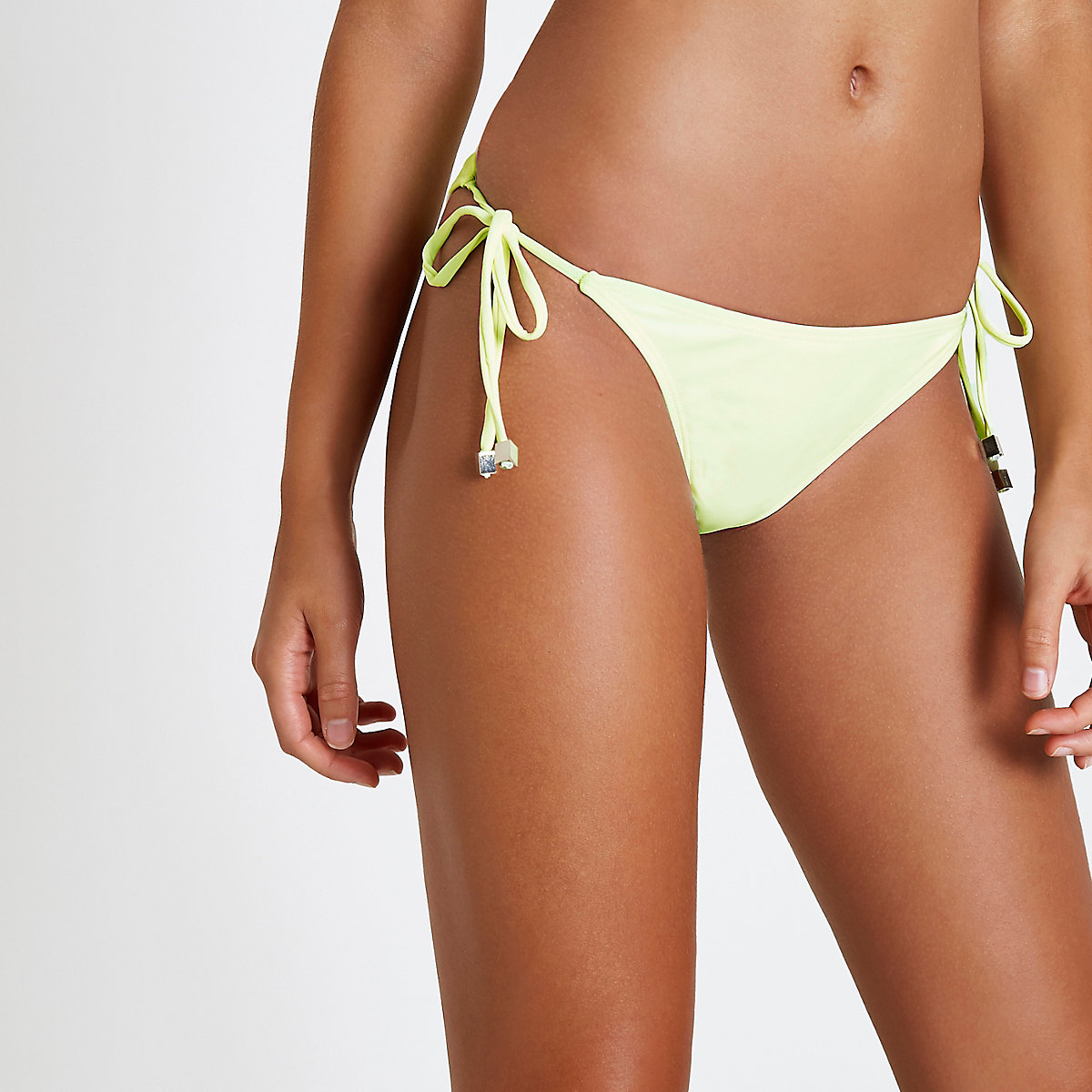 Neon yellow tie side bikini bottoms