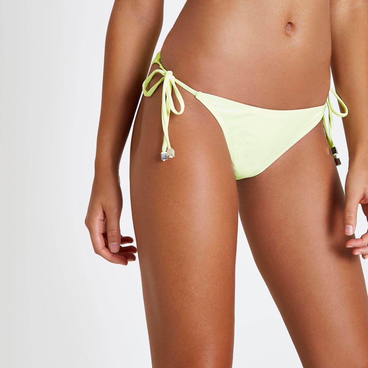 Neon yellow tie side bikini bottoms