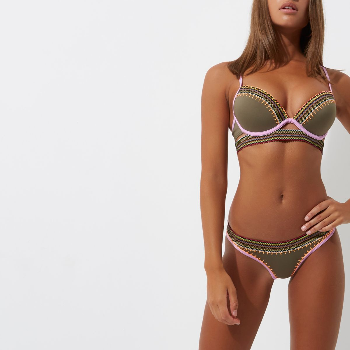 Khaki saddle stitch low rise bikini bottoms