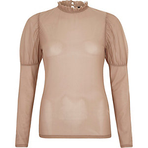 Beige sheer mesh puff sleeve top