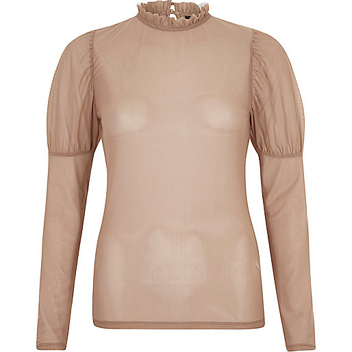 Top en tulle beige transparent à manches bouffantes