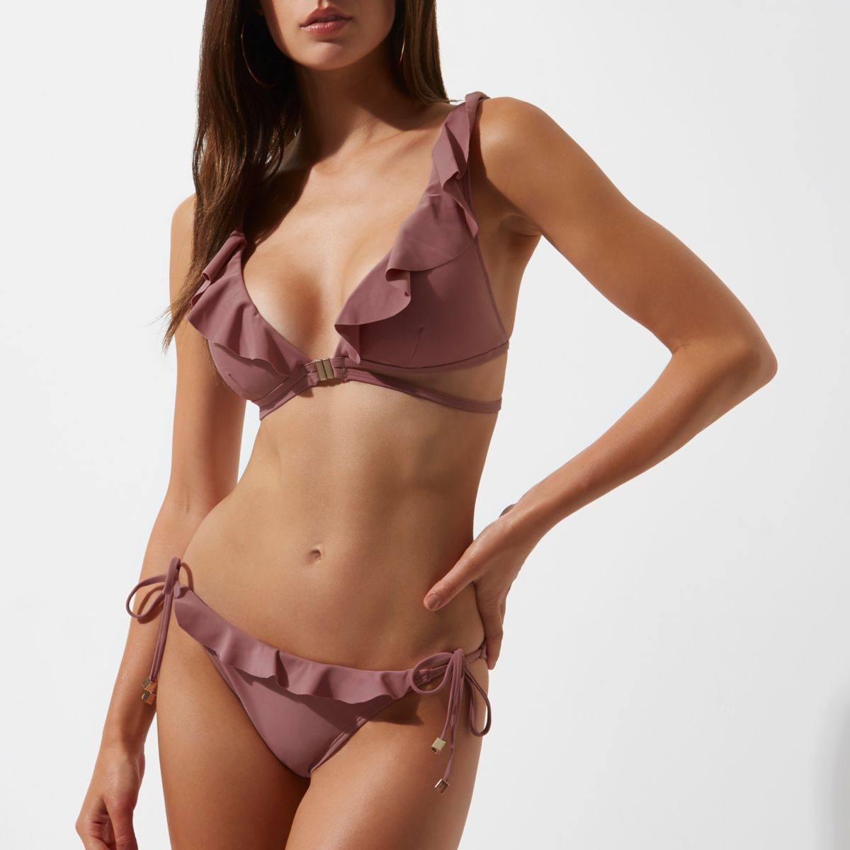 Light purple frill tie side bikini bottoms
