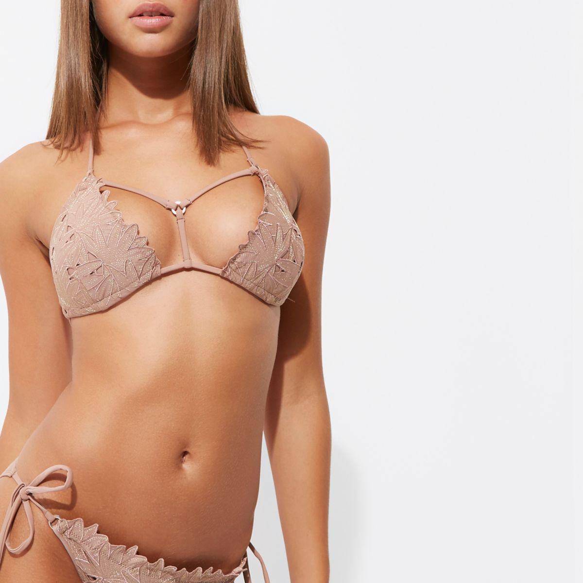 Light brown embroidered triangle bikini top
