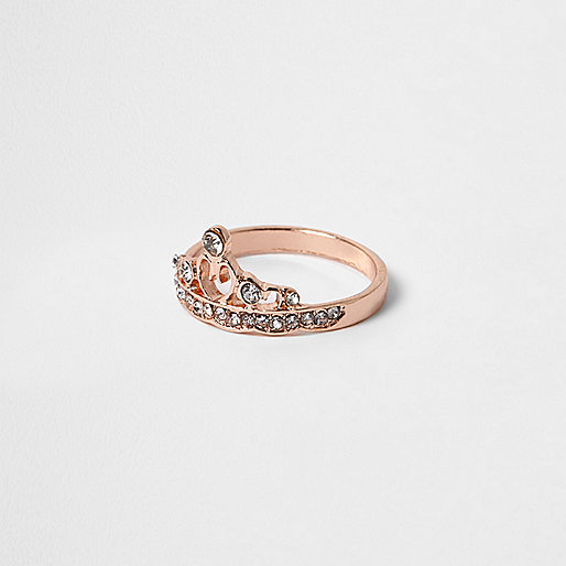 Rose gold tone rhinestone crown ring