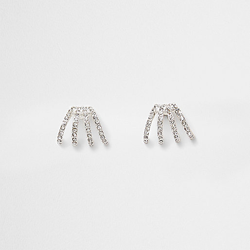 Silver tone rhinestone encrusted earrings